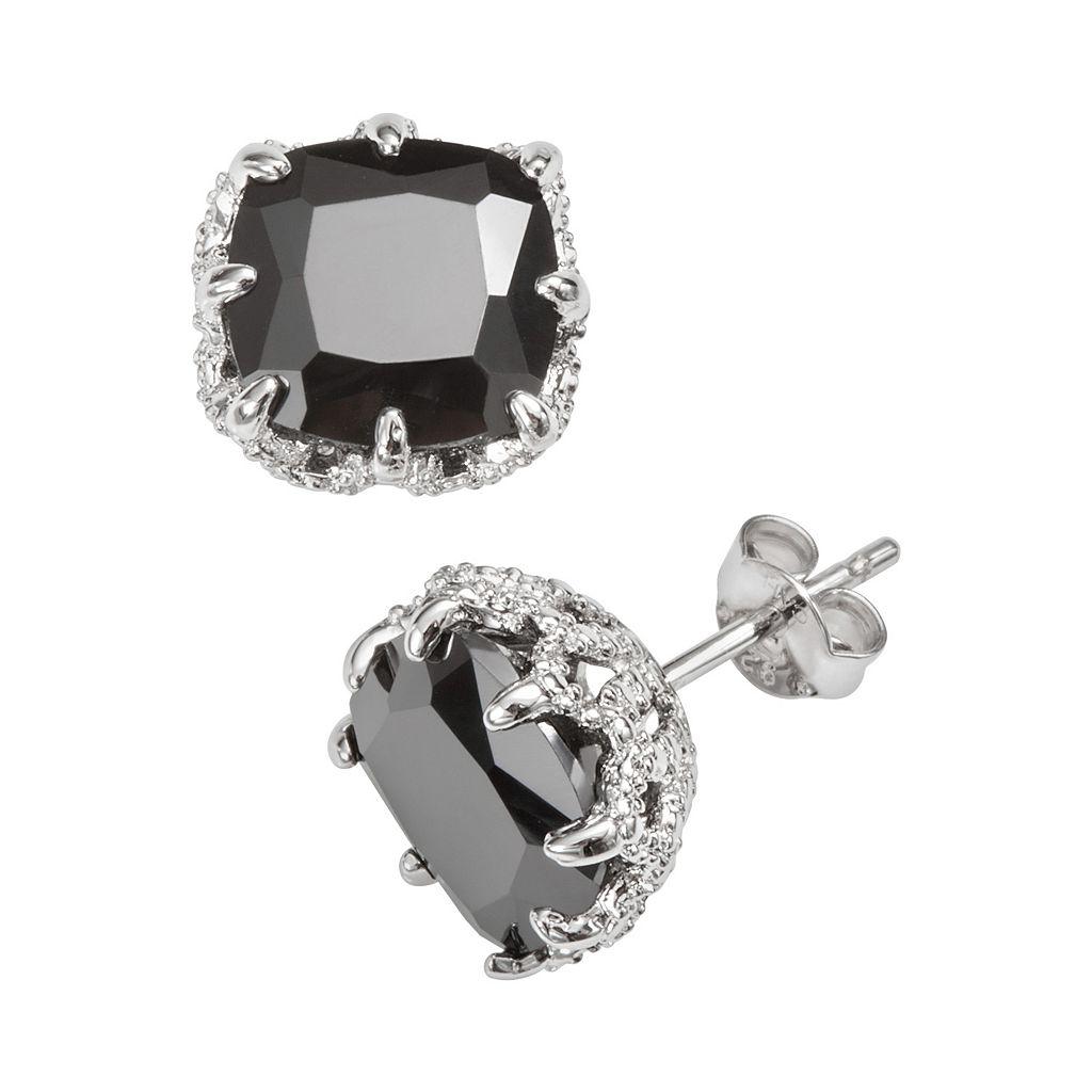 Sophie Miller Sterling Silver Black Cubic Zirconia Stud Earrings