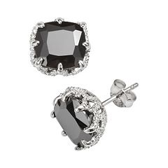 Sophie Miller Sterling Silver Black Cubic Zirconia Stud Earrings