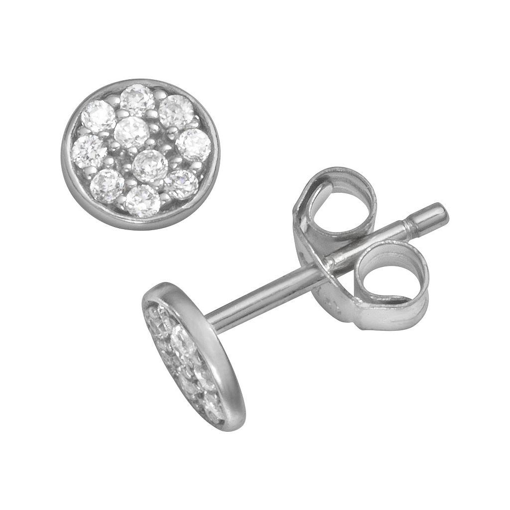 Sophie Miller Sterling Silver Cubic Zirconia Disc Stud Earrings