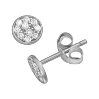 Sophie Miller Sterling Silver Cubic Zirconia Disc Stud Earrings
