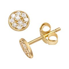 Sophie Miller 14k Gold Over Silver Cubic Zirconia Disc Stud Earrings