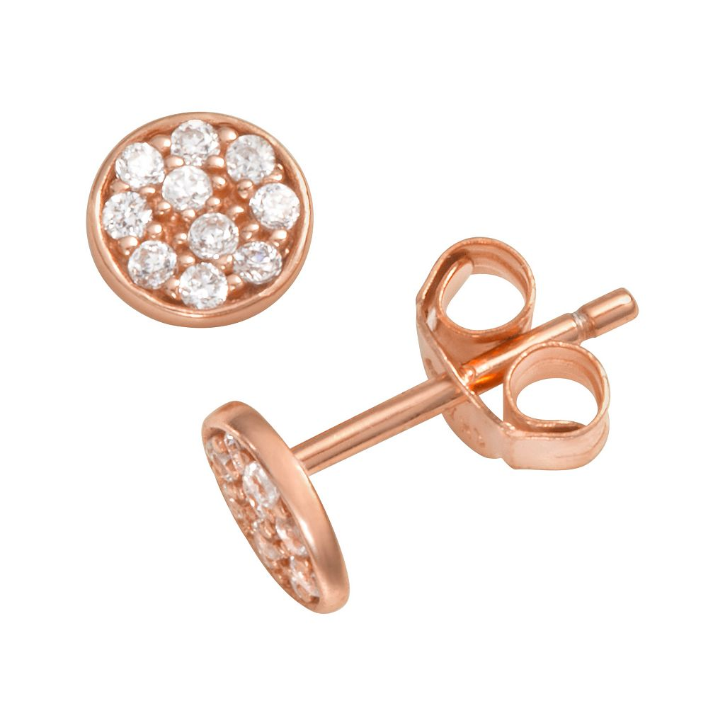 Sophie Miller 14k Rose Gold Over Silver Cubic Zirconia Disc Stud Earrings