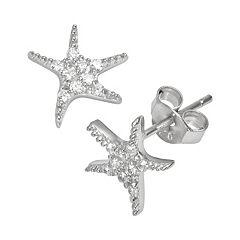 Sophie Miller Sterling Silver Cubic Zirconia Starfish Stud Earrings