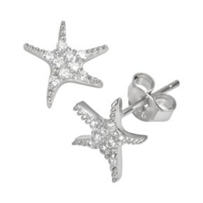 Sophie Miller Sterling Silver Cubic Zirconia Starfish Stud Earrings