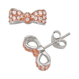 Sophie Miller 14k Rose Gold Over Silver and Sterling Silver Cubic Zirconia Bow Stud Earrings