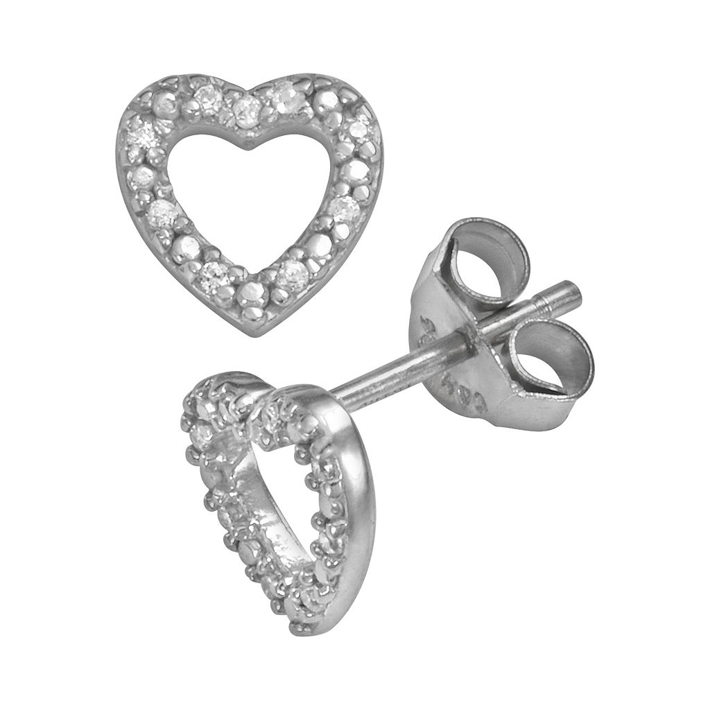 Sophie Miller Sterling Silver Cubic Zirconia Heart Stud Earrings