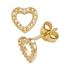 Sophie Miller 14k Gold Over Silver Cubic Zirconia Heart Stud Earrings
