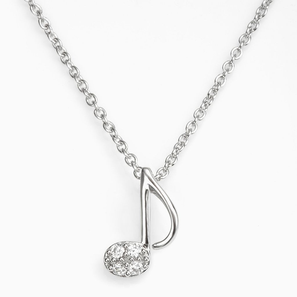 Sophie Miller Sterling Silver Cubic Zirconia Music Note Pendant