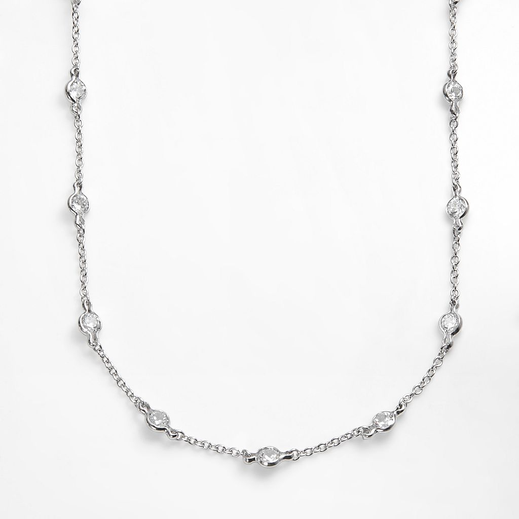Sophie Miller Sterling Silver Cubic Zirconia Station Necklace