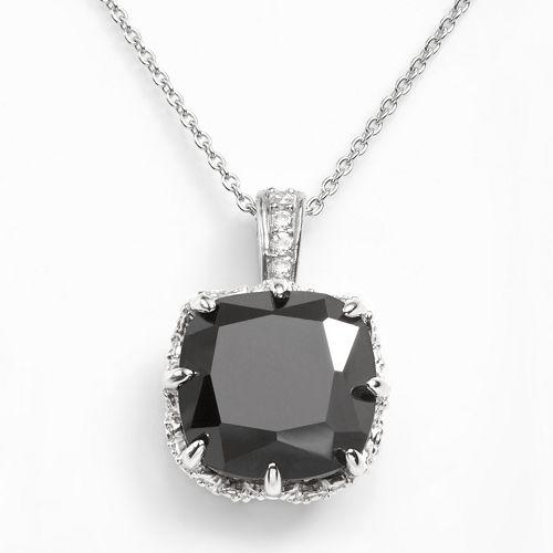 Sophie Miller Sterling Silver Black & White Cubic Zirconia Pendant
