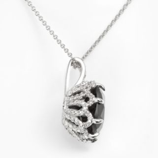 Sophie Miller Sterling Silver Black and White Cubic Zirconia Pendant