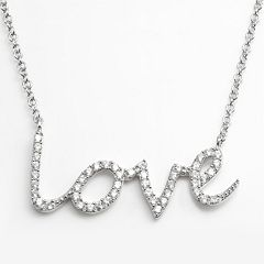 Sophie Miller Sterling Silver Cubic Zirconia 'Love' Link Necklace