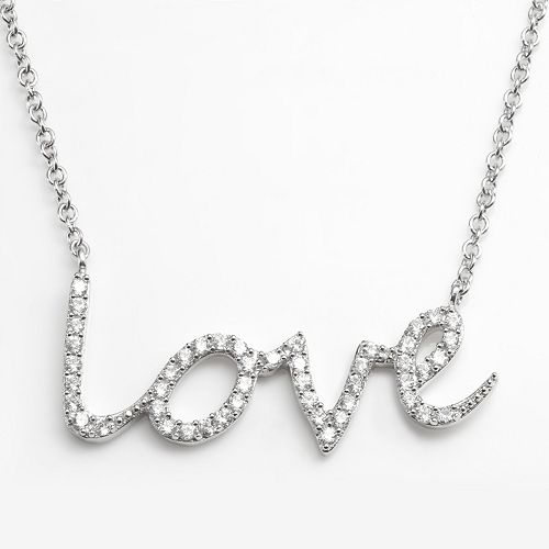 "Sophie Miller Sterling Silver Cubic Zirconia ""Love"" Link Necklace"