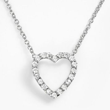 Sophie Miller Sterling Silver Cubic Zirconia Heart Pendant