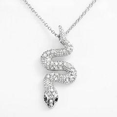 Sophie Miller Sterling Silver Black & White Cubic Zirconia Snake Pendant