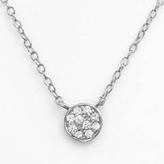 Sophie Miller Sterling Silver Cubic Zirconia Disc Link Necklace