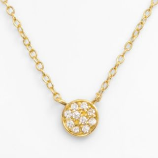 Sophie Miller 14k Gold Over Silver Cubic Zirconia Disc Link Necklace