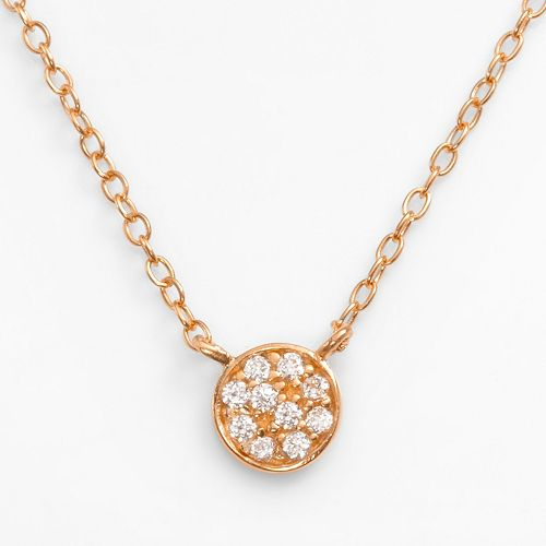Sophie Miller 14k Rose Gold Over Silver Cubic Zirconia Disc Link Necklace