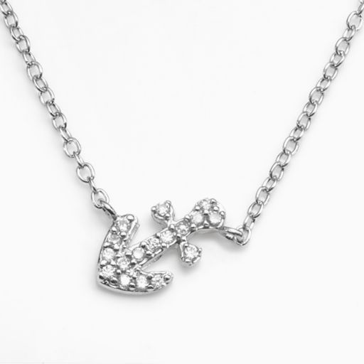 Sophie Miller Sterling Silver Cubic Zirconia Anchor Link Necklace