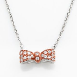 Sophie Miller 14k Rose Gold Over Silver and Sterling Silver Cubic Zirconia Bow Necklace