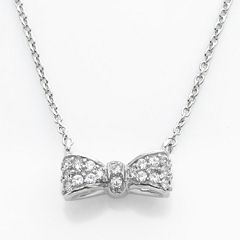 Sophie Miller Sterling Silver Cubic Zirconia Bow Necklace