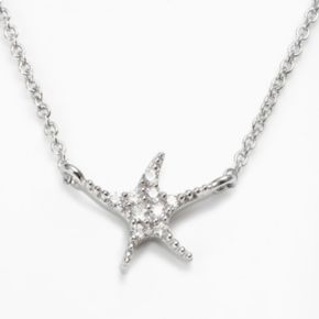 Sophie Miller Sterling Silver Cubic Zirconia Starfish Necklace