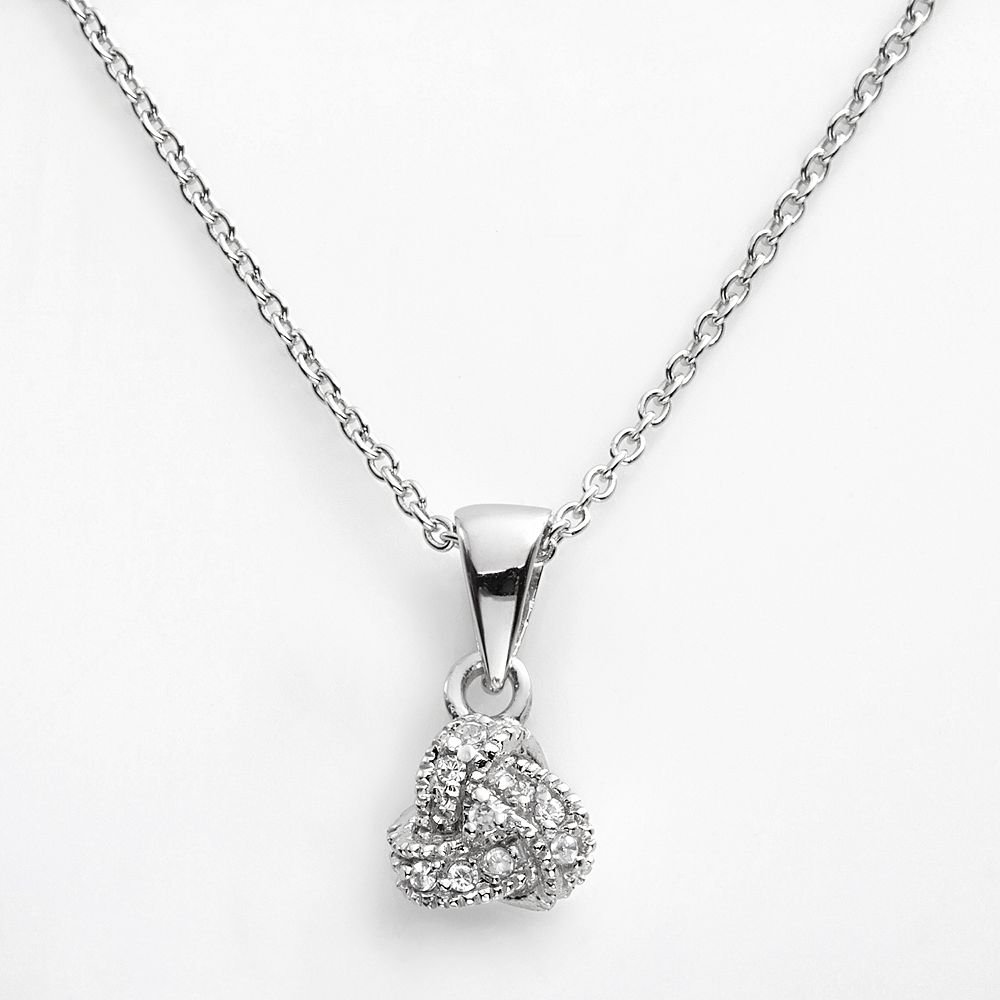 Sophie Miller Sterling Silver Cubic Zirconia Love Knot Pendant