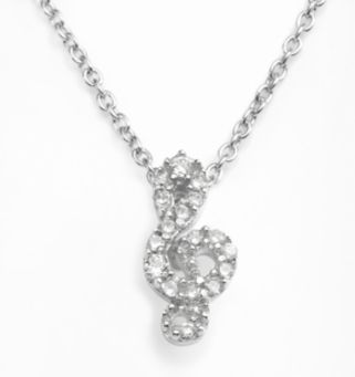 Sophie Miller Sterling Silver Cubic Zirconia Treble Clef Pendant