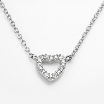 Sophie Miller Sterling Silver Cubic Zirconia Heart Link Necklace