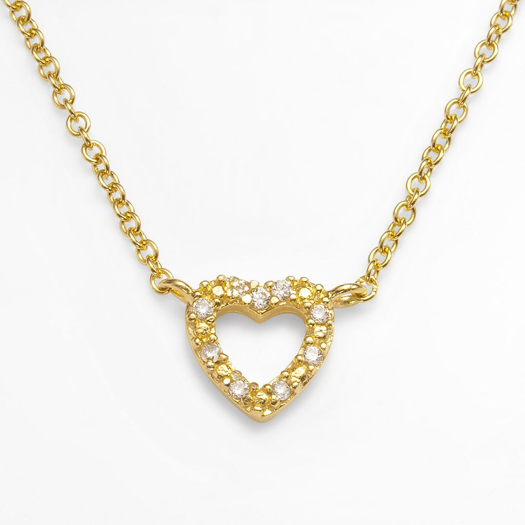 Sophie Miller 14k Gold Over Silver Cubic Zirconia Heart Link Necklace