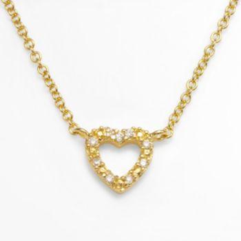 Sophie Miller 14k Gold Over Silver Cubic Zirconia Heart Link Necklace