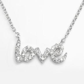 Sophie Miller Sterling Silver Cubic Zirconia Love Link Necklace