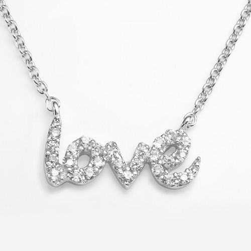 "Sophie Miller Sterling Silver Cubic Zirconia ""Love"" Link Necklace"