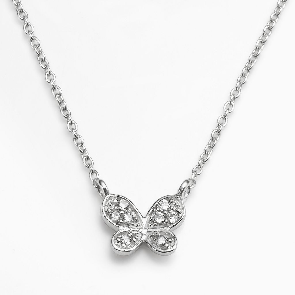 Sophie Miller Sterling Silver Cubic Zirconia Butterfly Necklace