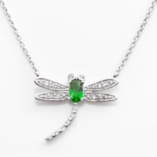 Sophie Miller Sterling Silver Simulated Emerald and Cubic Zirconia Dragonfly Necklace