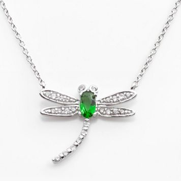 Sophie Miller Sterling Silver Simulated Emerald & Cubic Zirconia Dragonfly Necklace