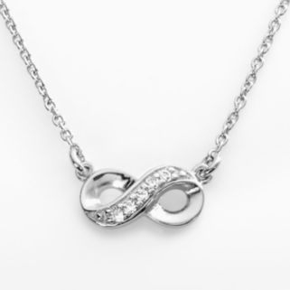 Sophie Miller Sterling Silver Simulated Diamond Infinity Link Necklace
