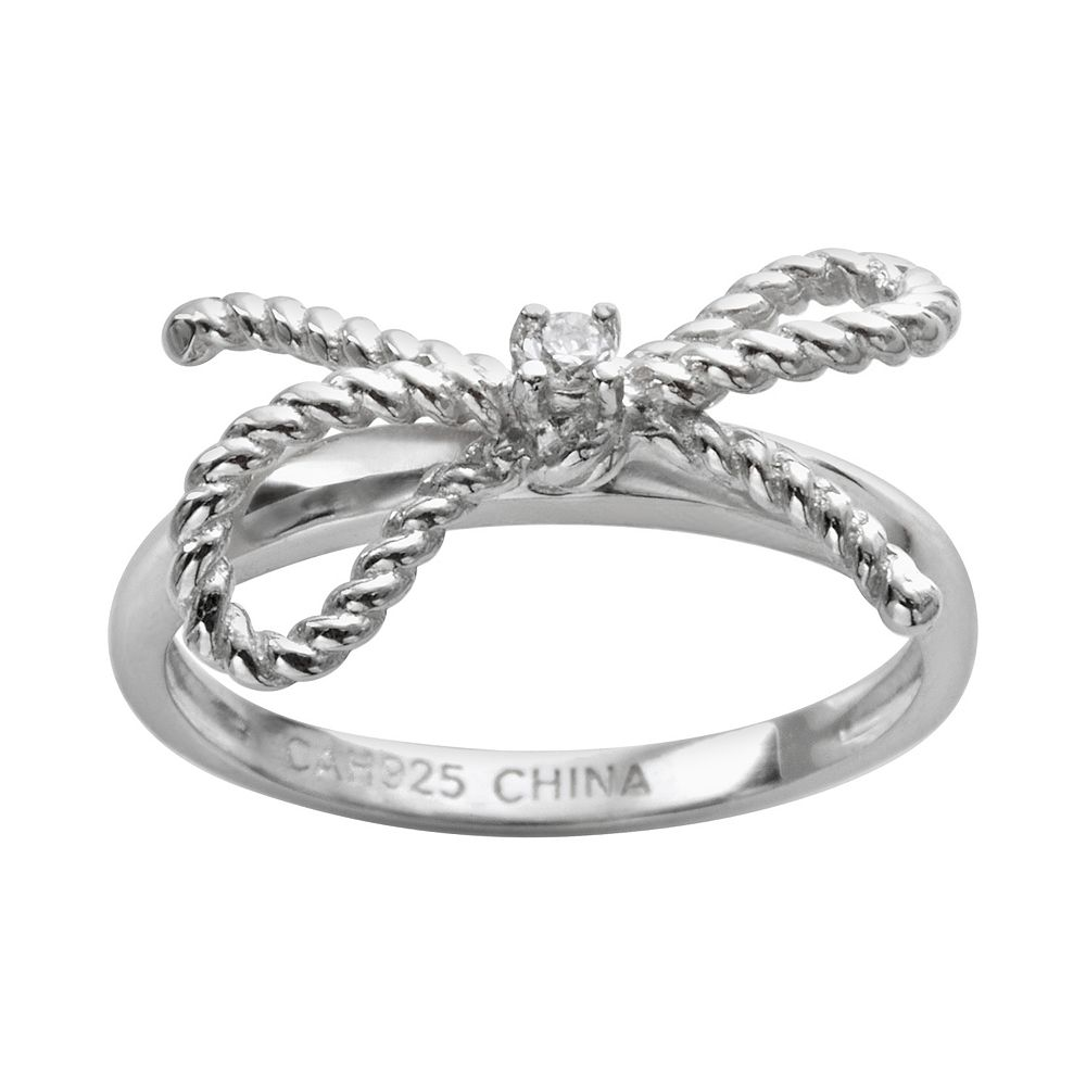 Sophie Miller Sterling Silver Cubic Zirconia Twist Bow Ring
