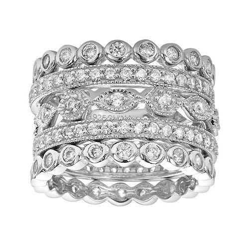 Sophie Miller Sterling Silver Cubic Zirconia Stack Ring Set