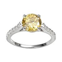 Sophie Miller Sterling Silver Yellow & White Cubic Zirconia Ring