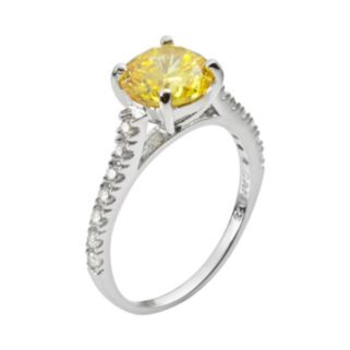 Sophie Miller Sterling Silver Yellow and White Cubic Zirconia Ring
