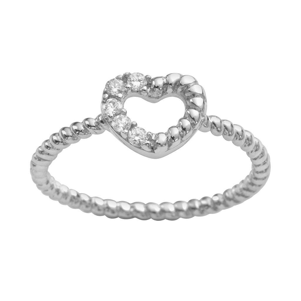 Sophie Miller Sterling Silver Cubic Zirconia Twist Heart Ring