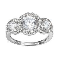 Sophie Miller Sterling Silver Cubic Zirconia Frame Ring
