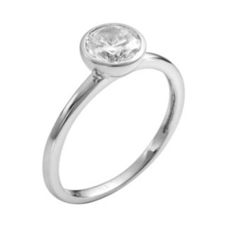 Sophie Miller Sterling Silver Cubic Zirconia Solitaire Ring