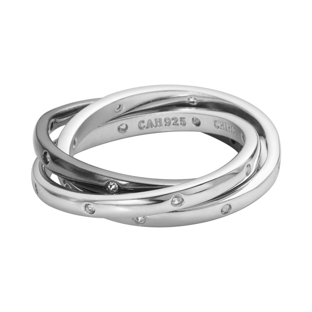Sophie Miller Black & White Rhodium-Plated Sterling Silver Cubic Zirconia Interlocking Ring