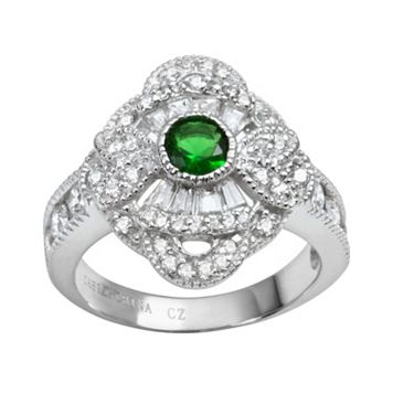 Sophie Miller Sterling Silver Simulated Emerald & Cubic Zirconia Filigree Ring