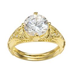 Sophie Miller 14k Gold Over Silver Cubic Zirconia Filigree Ring