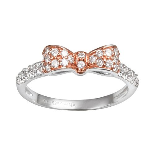 Sophie Miller 14k Rose Gold Over Silver & Sterling Silver Cubic Zirconia Bow Ring