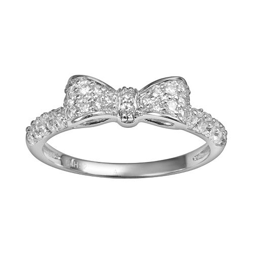 Sophie Miller Sterling Silver Cubic Zirconia Bow Ring