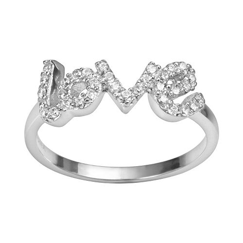 "Sophie Miller Sterling Silver Cubic Zirconia ""Love"" Ring"